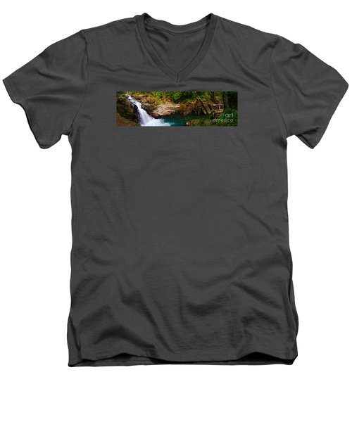 Silver Falls Panorama Men's V-Neck T-Shirt by Sean Griffin