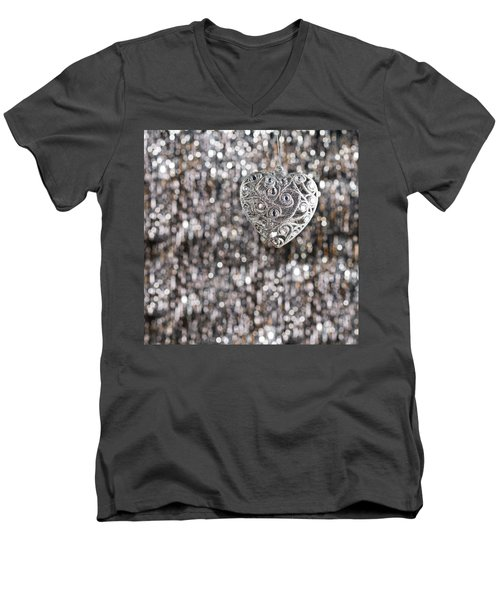 Men's V-Neck T-Shirt featuring the photograph Silver Heart by Ulrich Schade