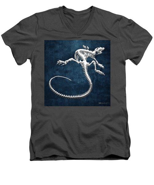 Silver Iguana Skeleton On Blue Silver Iguana Skeleton On Blue  Men's V-Neck T-Shirt