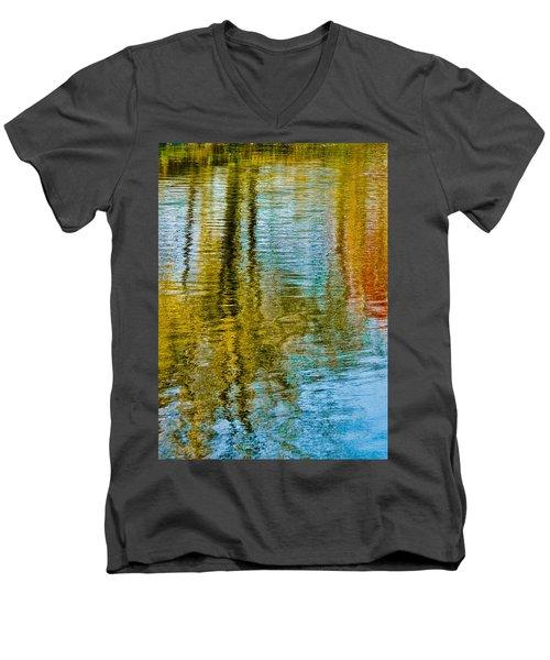 Silver Lake Autum Tree Reflections Men's V-Neck T-Shirt by Michael Bessler