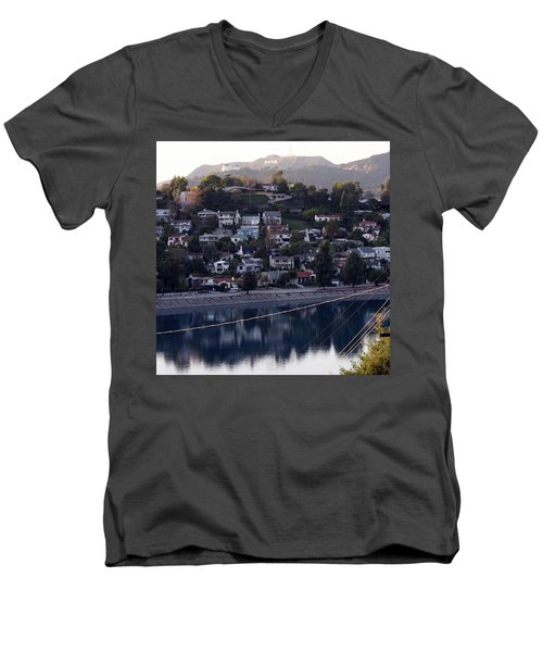 Silver Lake Reservoir And Hollywood Hills Men's V-Neck T-Shirt