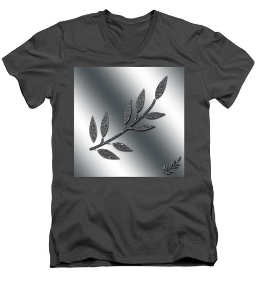 Silver Leaves Abstract Men's V-Neck T-Shirt
