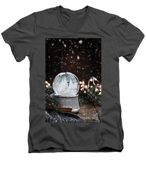 Silver Snow Globe Men's V-Neck T-Shirt by Stephanie Frey