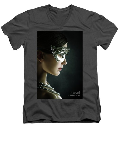 Men's V-Neck T-Shirt featuring the photograph Silver Spike Beauty Mask by Dimitar Hristov