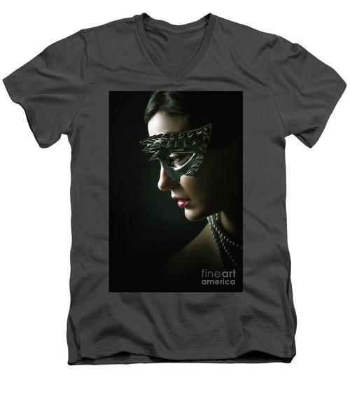 Men's V-Neck T-Shirt featuring the photograph Silver Spike Eye Mask by Dimitar Hristov
