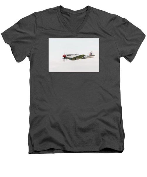 Silver Spitfire Fr Xviiie Men's V-Neck T-Shirt by Gary Eason