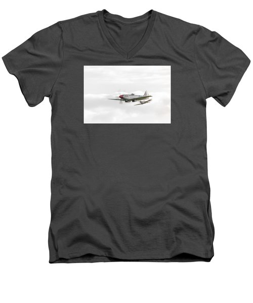 Silver Spitfire In A Cloudy Sky Men's V-Neck T-Shirt by Gary Eason