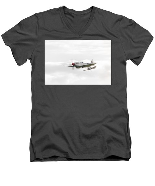 Silver Spitfire In A Cloudy Sky Men's V-Neck T-Shirt