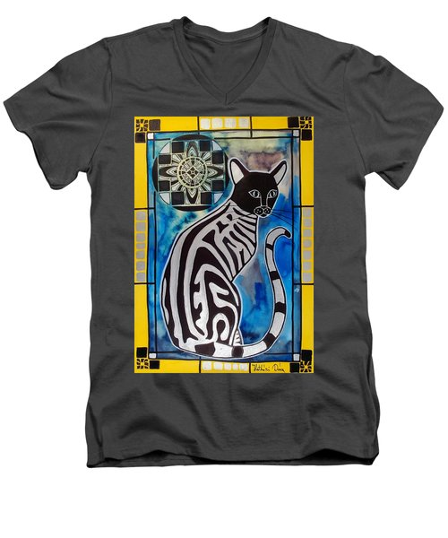 Men's V-Neck T-Shirt featuring the painting Silver Tabby With Mandala - Cat Art By Dora Hathazi Mendes by Dora Hathazi Mendes