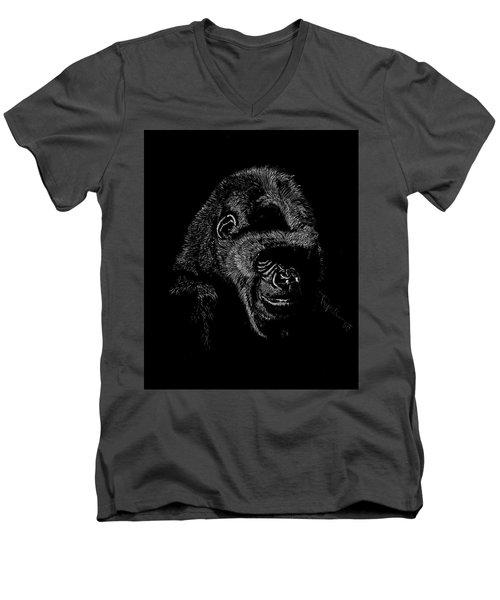 Silverback Men's V-Neck T-Shirt by Lawrence Tripoli