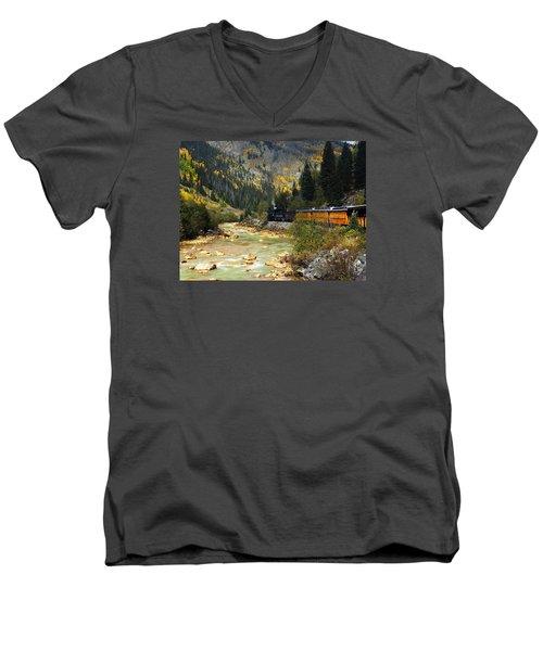 Men's V-Neck T-Shirt featuring the photograph Silverton Bound by Kurt Van Wagner