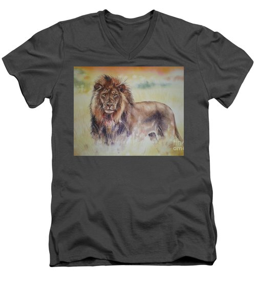 Men's V-Neck T-Shirt featuring the painting Simba by Sandra Phryce-Jones