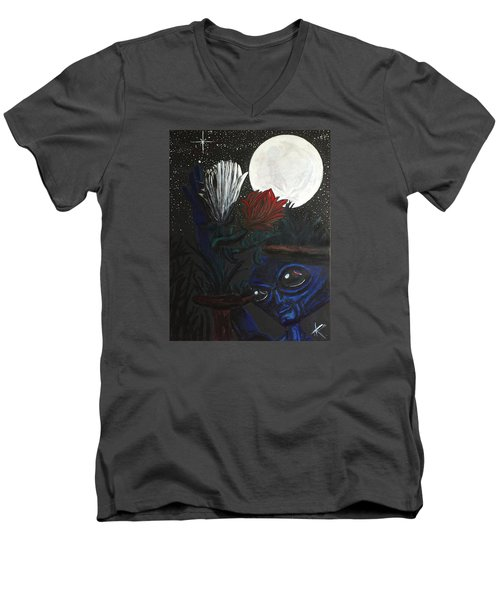 Men's V-Neck T-Shirt featuring the painting Similar Alien Appreciates Flowers By The Light Of The Full Moon. by Similar Alien