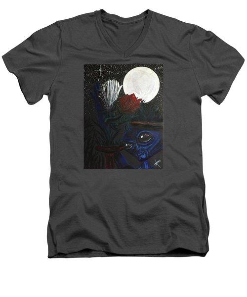 Similar Alien Appreciates Flowers By The Light Of The Full Moon. Men's V-Neck T-Shirt by Similar Alien