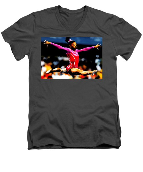 Simone Biles Men's V-Neck T-Shirt by Brian Reaves