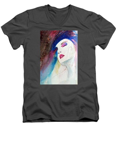 Men's V-Neck T-Shirt featuring the painting Simonne by Ed Heaton