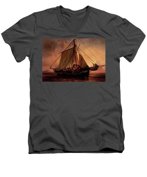 Simonsen Niels Arab Pirate Attack Men's V-Neck T-Shirt by Niels Simonsen