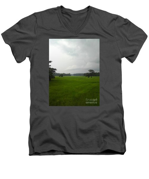 Men's V-Neck T-Shirt featuring the photograph Simple Green by Rushan Ruzaick