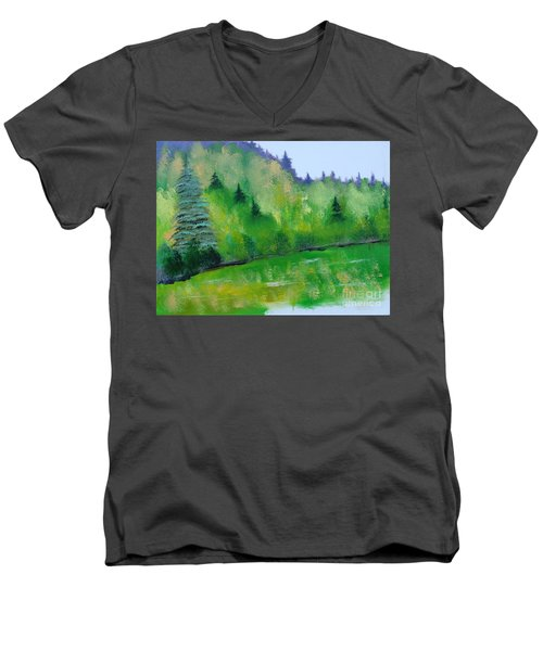 Men's V-Neck T-Shirt featuring the painting Simply Green by Rod Jellison