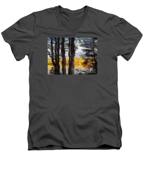 Simulated Van Gogh Scene Men's V-Neck T-Shirt by Craig Walters