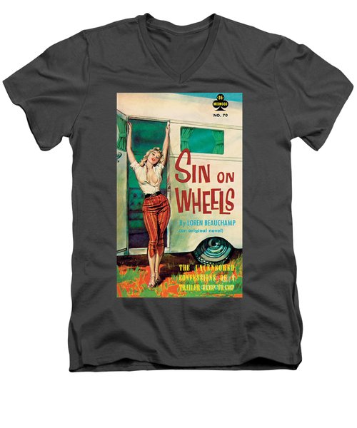 Sin On Wheels Men's V-Neck T-Shirt by Paul Rader
