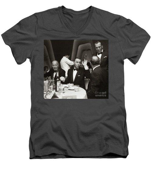 Sinatra And Ed Sullivan At The Eden Roc - Miami - 1964 Men's V-Neck T-Shirt