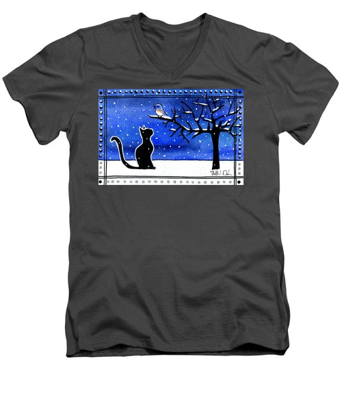Sing For Me - Black Cat Card Men's V-Neck T-Shirt