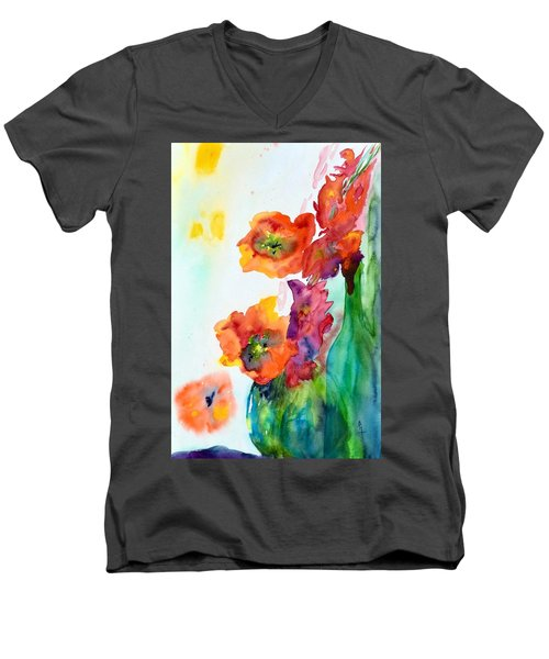 Sing Out Men's V-Neck T-Shirt by Beverley Harper Tinsley