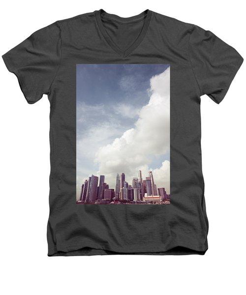 Men's V-Neck T-Shirt featuring the photograph Singapore Cityscape by Joseph Westrupp