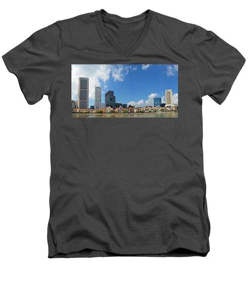 Men's V-Neck T-Shirt featuring the digital art Singapore River Front by Eva Kaufman