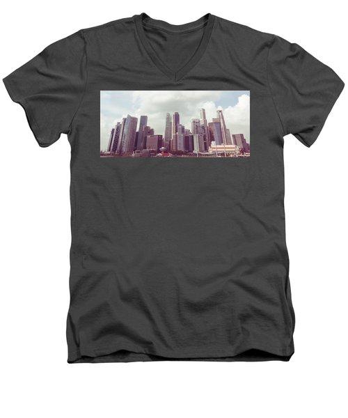 Men's V-Neck T-Shirt featuring the photograph Singaport Cityscape The Second by Joseph Westrupp