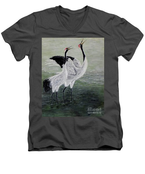 Singing Cranes Men's V-Neck T-Shirt