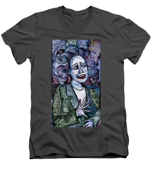 Singing Lady-blues Men's V-Neck T-Shirt