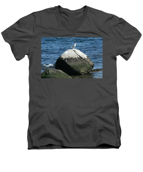 Men's V-Neck T-Shirt featuring the digital art Singing Seagull by Barbara S Nickerson
