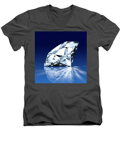 Single Blue Diamond Men's V-Neck T-Shirt