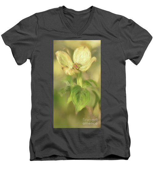 Men's V-Neck T-Shirt featuring the digital art Single Dogwood Blossom In Evening Light by Lois Bryan