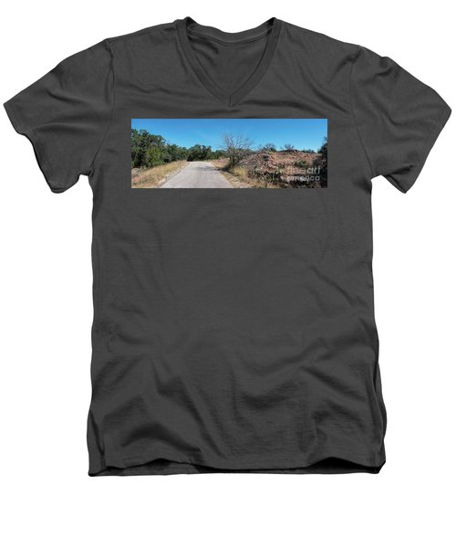 Single Lane Road In The Hill Country Men's V-Neck T-Shirt