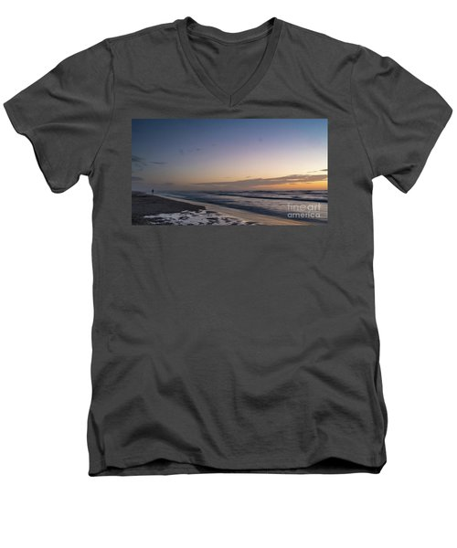 Single Man Walking On Beach With Sunset In The Background Men's V-Neck T-Shirt
