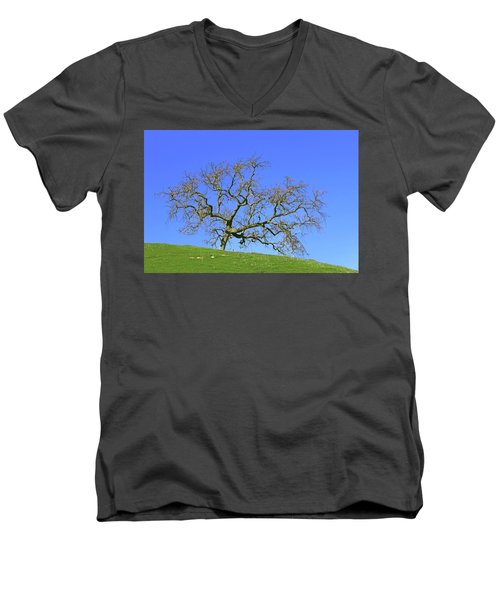 Men's V-Neck T-Shirt featuring the photograph Single Oak Tree by Art Block Collections