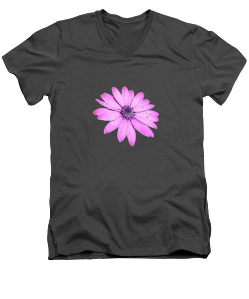 Single Pink African Daisy Men's V-Neck T-Shirt by Tracey Harrington-Simpson