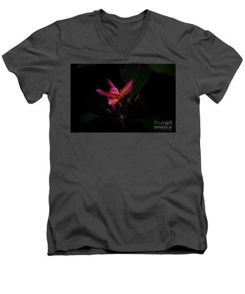 Single Red Plumeria Bloom Men's V-Neck T-Shirt