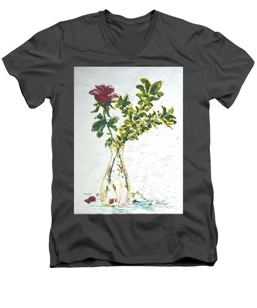 Single Red Rose Men's V-Neck T-Shirt by Lynda Cookson
