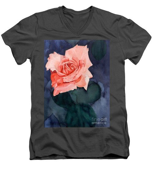 Watercolor Of A Magic Bright Single Red Rose Men's V-Neck T-Shirt