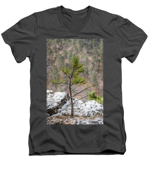 Single Snowy Pine Men's V-Neck T-Shirt