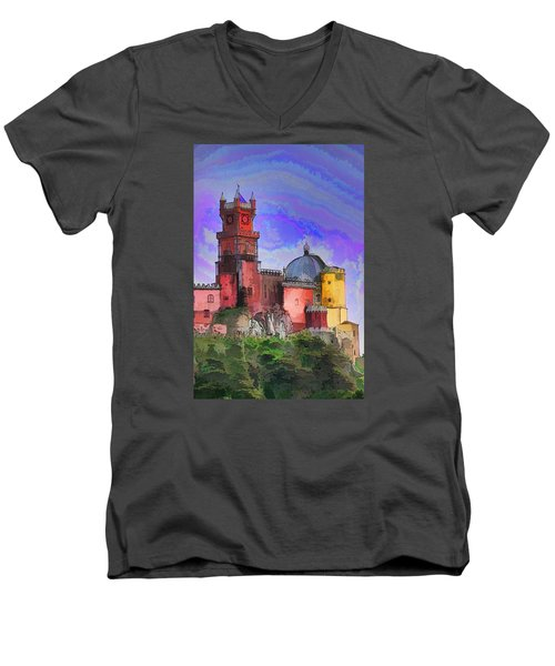 Sintra Palace Men's V-Neck T-Shirt by Dennis Cox WorldViews