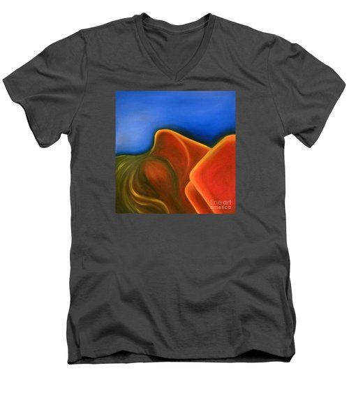 Men's V-Neck T-Shirt featuring the painting Sinuous Curves Iv by Fanny Diaz