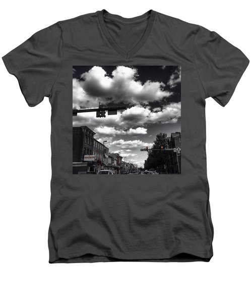 Men's V-Neck T-Shirt featuring the photograph Sip And Bite by Toni Martsoukos
