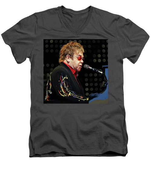 Sir Elton John At The Piano Men's V-Neck T-Shirt by Elaine Plesser