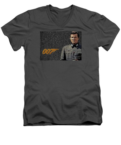 Sir Roger Moore Men's V-Neck T-Shirt by Manjot Singh Sachdeva