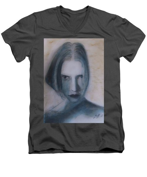 Men's V-Neck T-Shirt featuring the painting Siren From The Deep by Jarko Aka Lui Grande